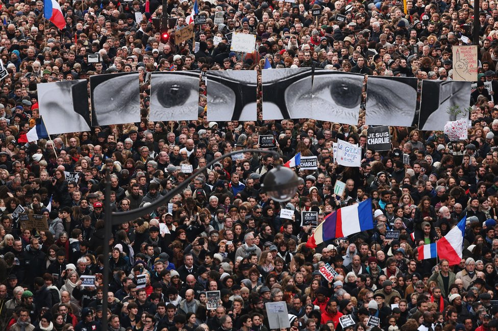 Mass Unity march in Paris