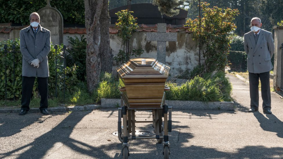 An elderly woman's funeral takes place in France under coronavirus restrictions.
