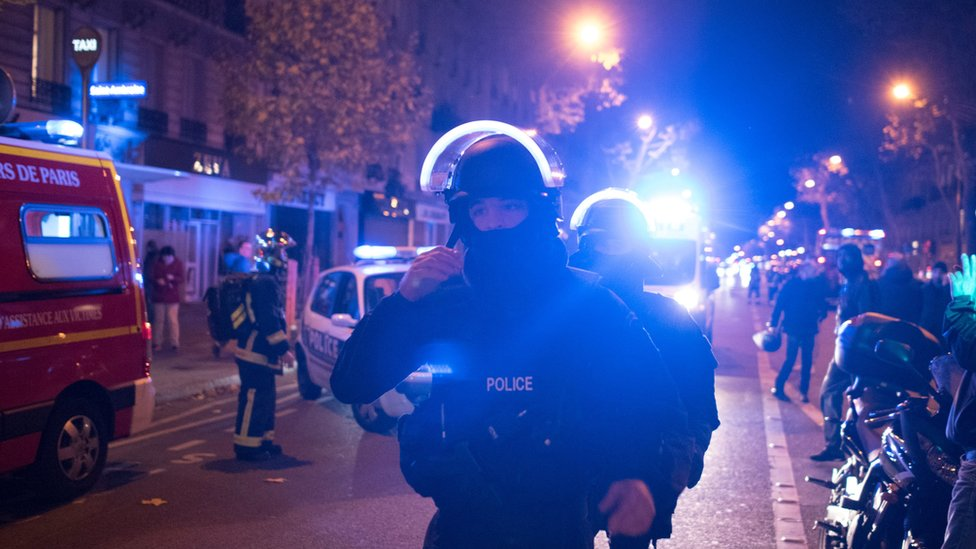 Elite police officers arrive outside the Bataclan