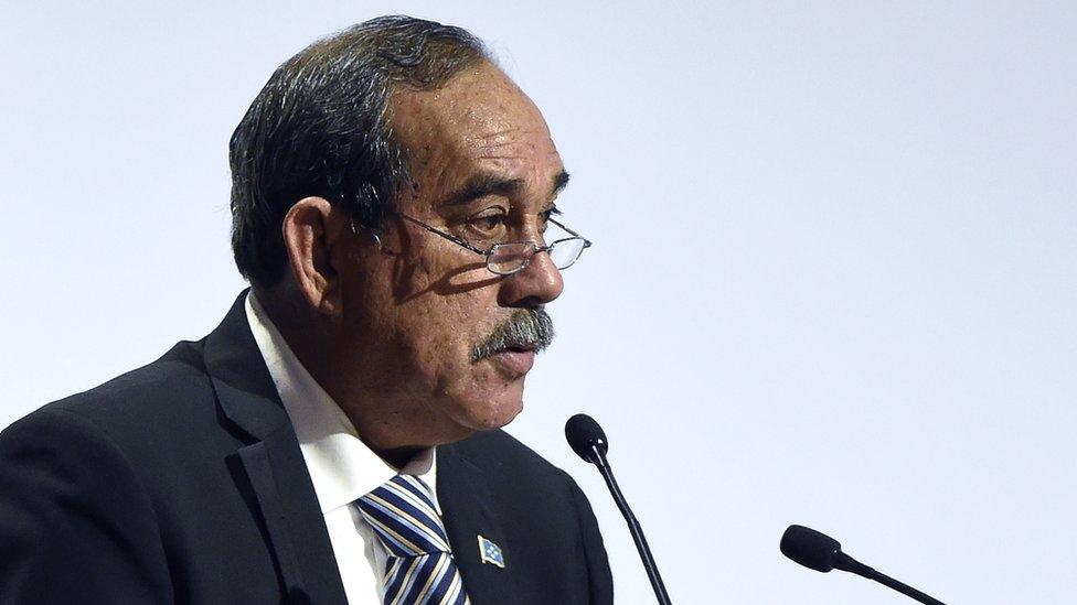 Micronesian President Peter Christian speaks in France
