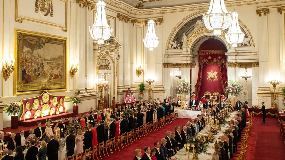 The state banquet for Donald Trump at Buckingham Palace ballroom