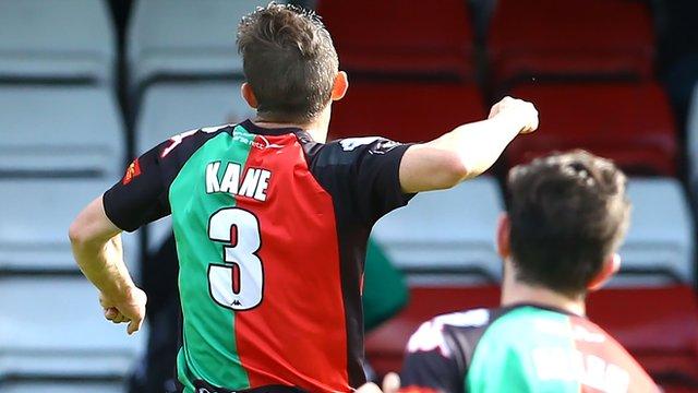Glentoran's Marcus Kane celebrates scoring the winning goal against Portadown