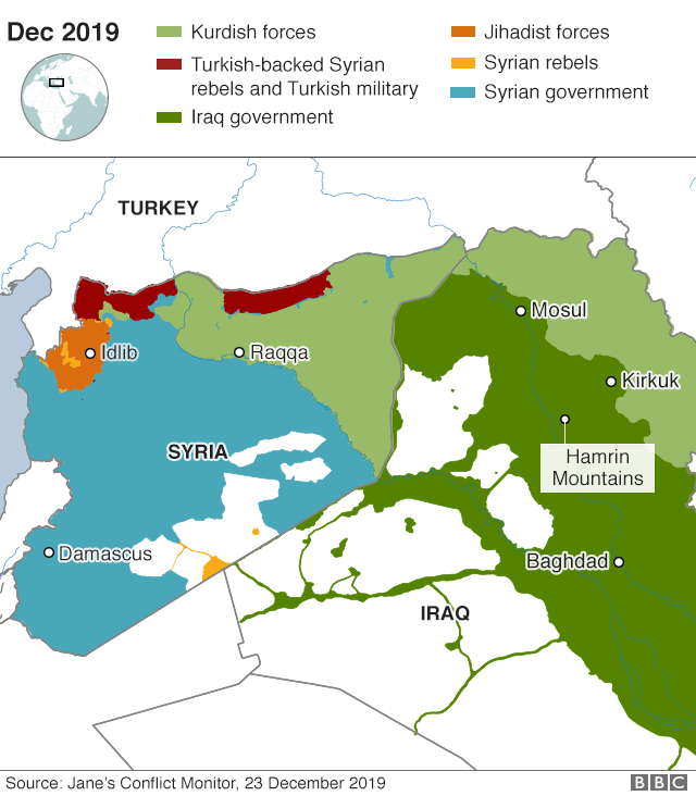 Map of control areas in Iraq and Syria