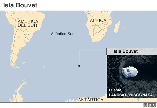 Mapa de la isla Boutvet en el Atlántico Sur