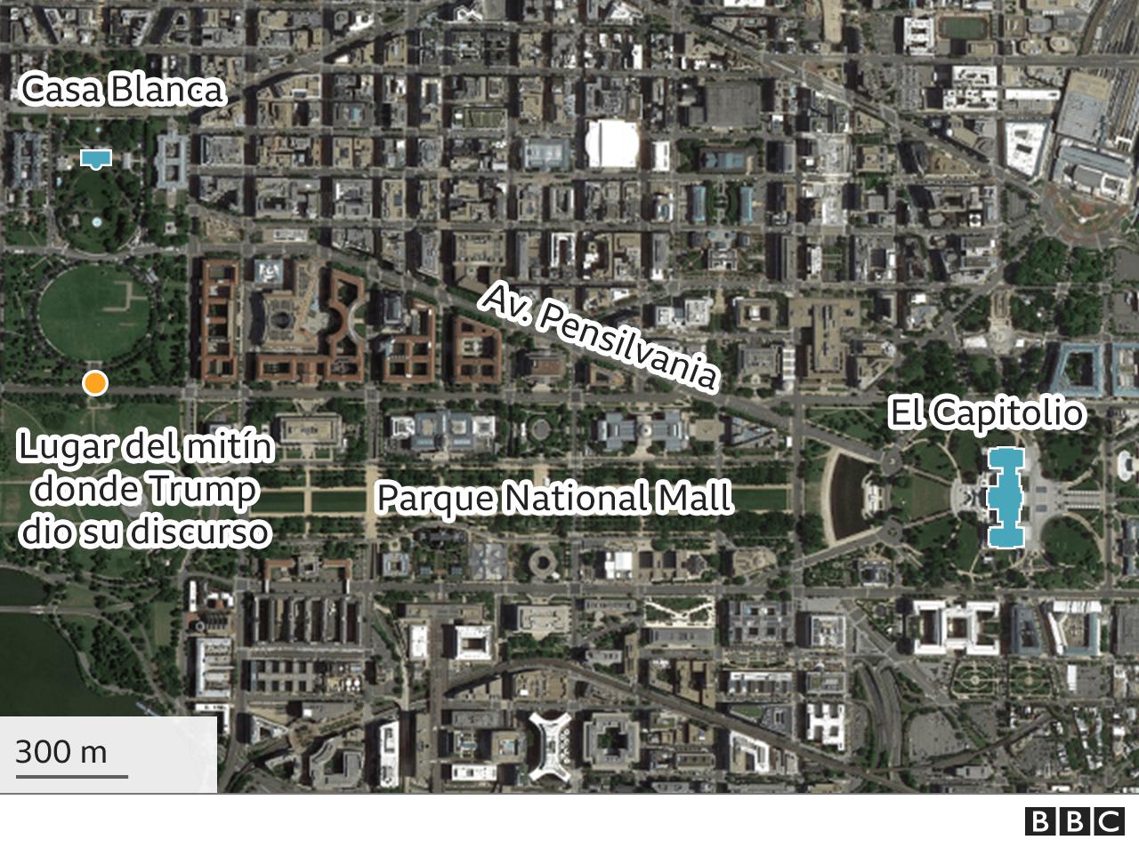Mapa que muestra la distancia entre la Casa Blanca y el Capitolio.