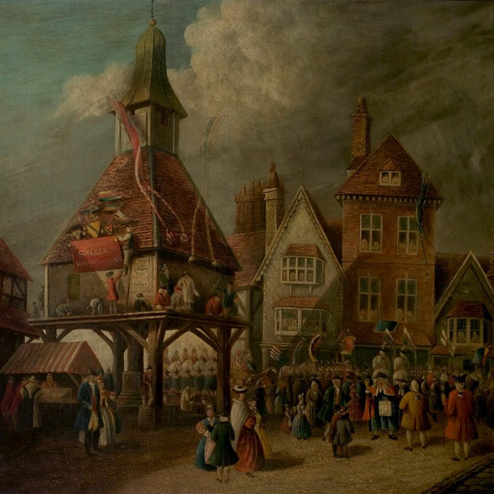 Scene at the High Cross during the Garrick Jubilee', 18th century, oil on canvas