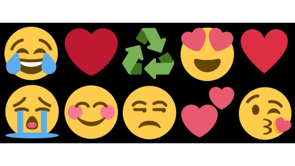 The ten different emojis which make up the top ten most used list on Twitter