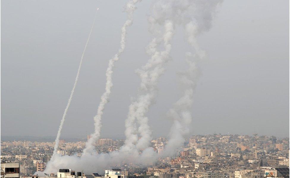 Cohetes lanzados desde Gaza hacia Jerusalén
