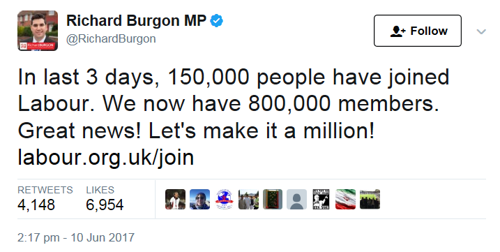 Richard Burgon, claiming that 150,000 have joined Labour