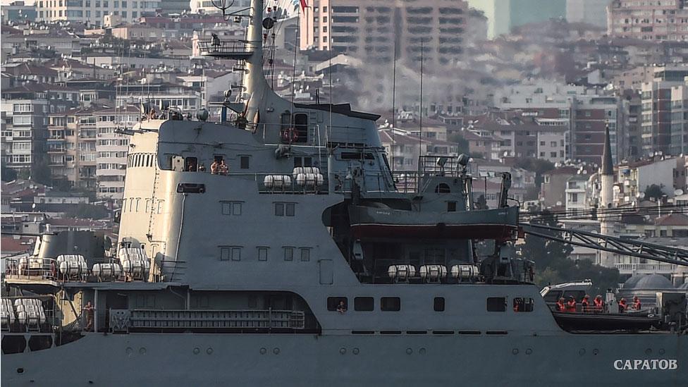 Russian warship the BSF Saratov 150 sails through the Bosphorus en route to the Mediterranean