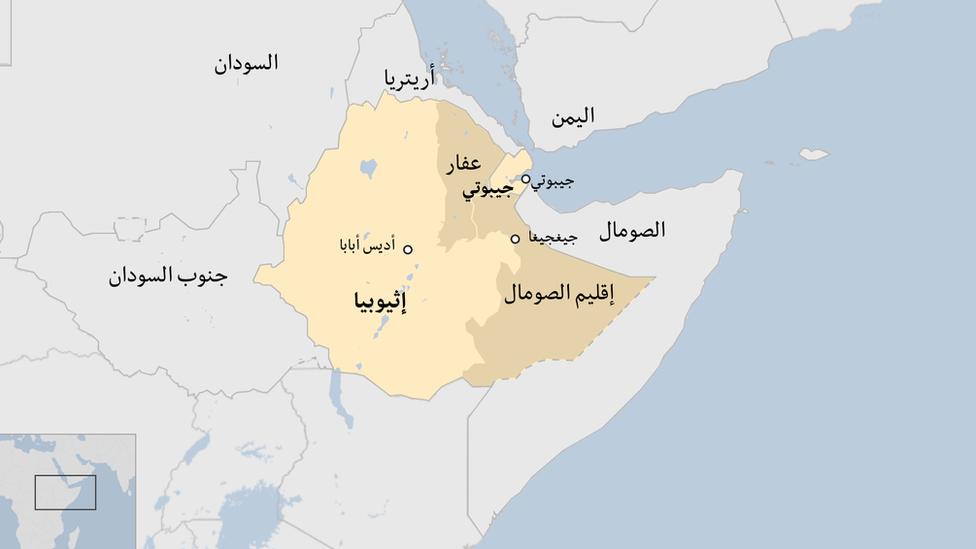 خارطة تبين إقليم الصومال وإثيوبيا