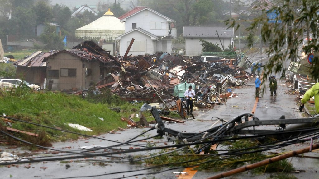 Collapsed homes in Chiba
