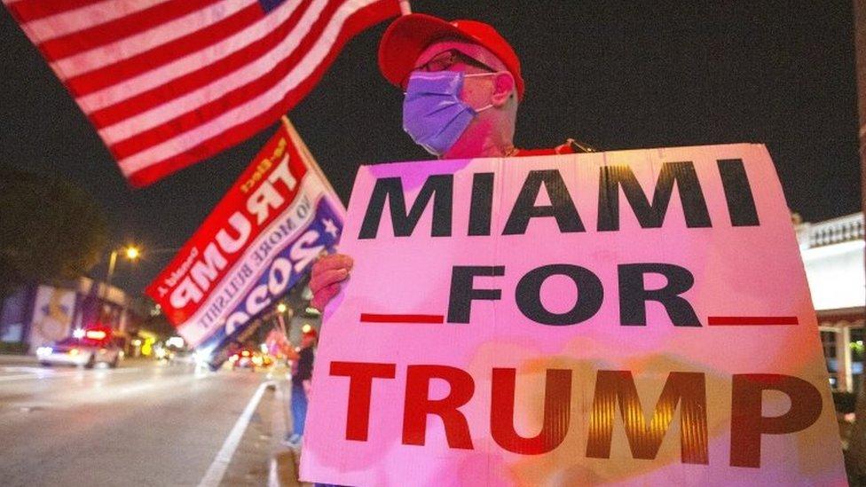 Una concentración en apoyo a Trump en la ciudad de Miami.