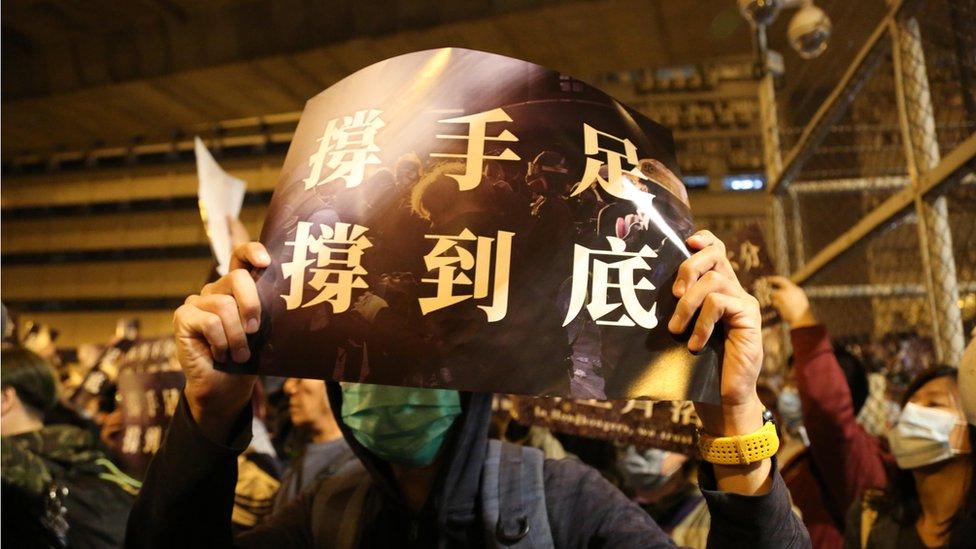 一些集會人士說要跟被捕示威者一起過春節。