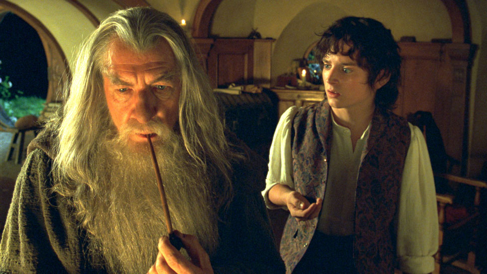 Sir Ian McKellen with Elijah Wood in The Lord of the Rings: The Fellowship of the Ring