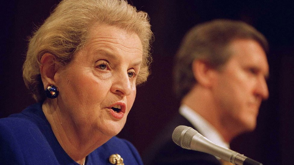 US Secretary of State Madeleine Albright testifies to the Senate Armed Services Committee as US Secretary Defense William Cohen listens on Capitol Hill 1997