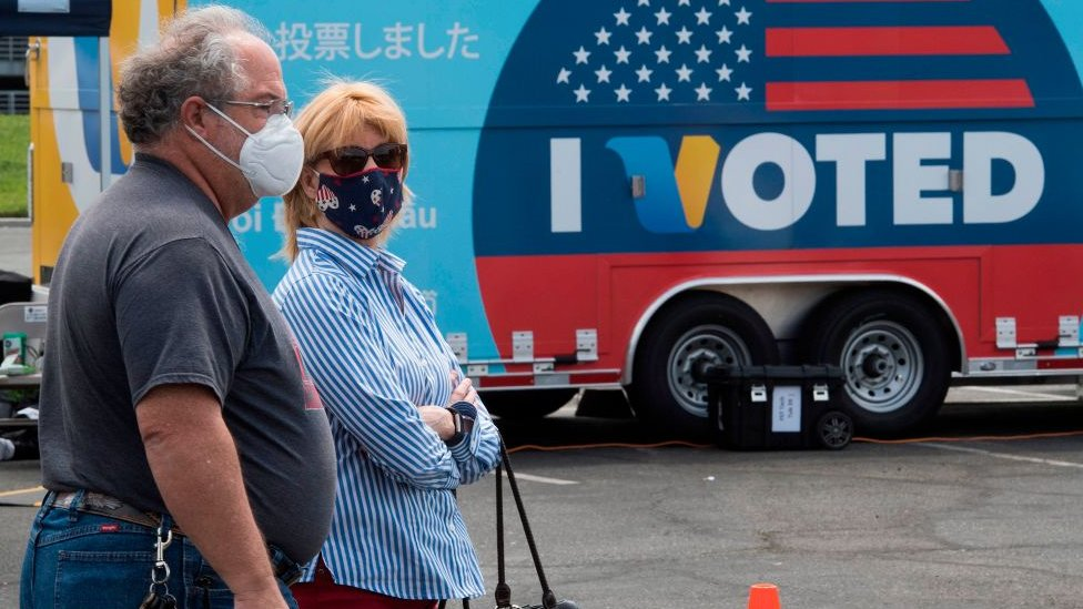 Voters in masks