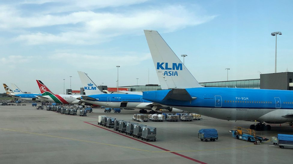 Aircraft on the tarmac at Schiphol Airport on 24 July 2019