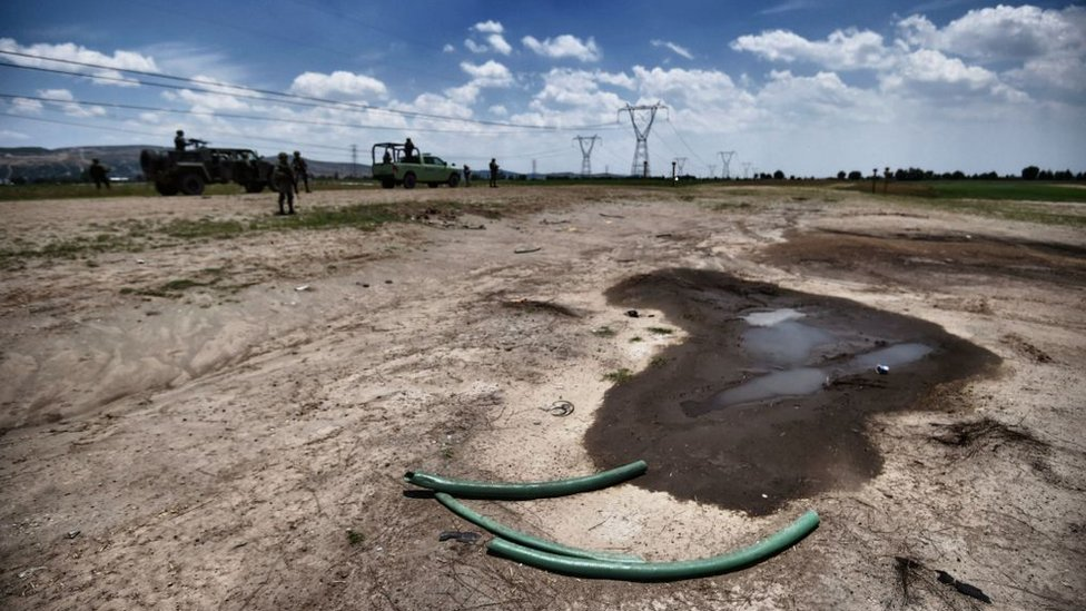 Área de extracción ilegal de combustible en Tepeaca, Puebla.