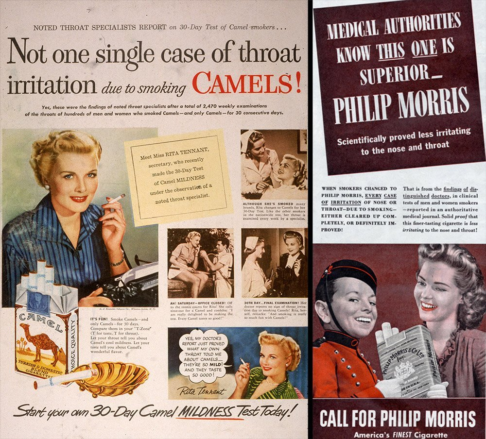 Cigarette advert, left 1950, right 1944