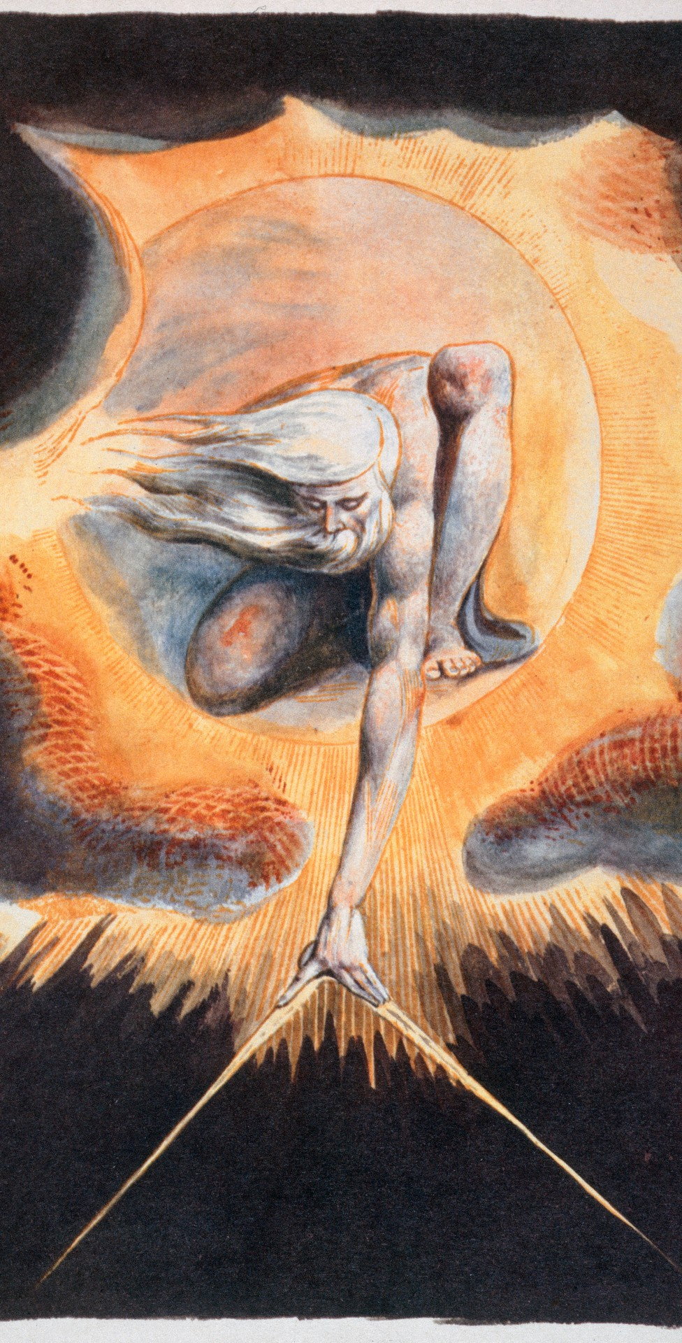 """Urizen mide el material del mundo en El anciano de los días, tomado de """"Europa, una profecía"""", de William Blake"""