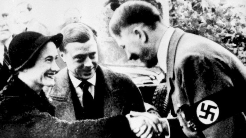 The newly-wed Duke and Duchess of Windsor meeting Adolf Hitler in 1937