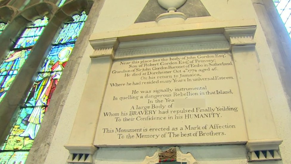 Memorial stone to John Gordon in St Peter's Church in Dorchester