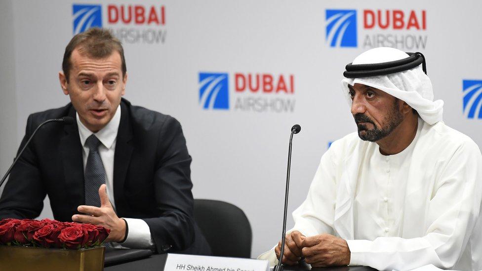 Airbus chief executive Guillaume Faury and Emirates chairman Ahmed bin Saeed Al Maktoum