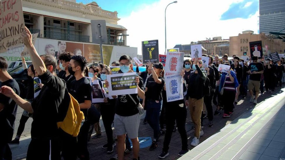 Pro-democracy supporters protesting in Brisbane on 28 July