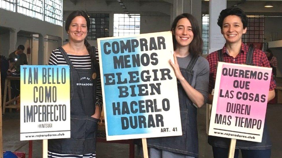 Osnivači Kluba de Reparadores, sleva nadesno: Melina Šioli, Marina Pla i Hulieta Morosoli
