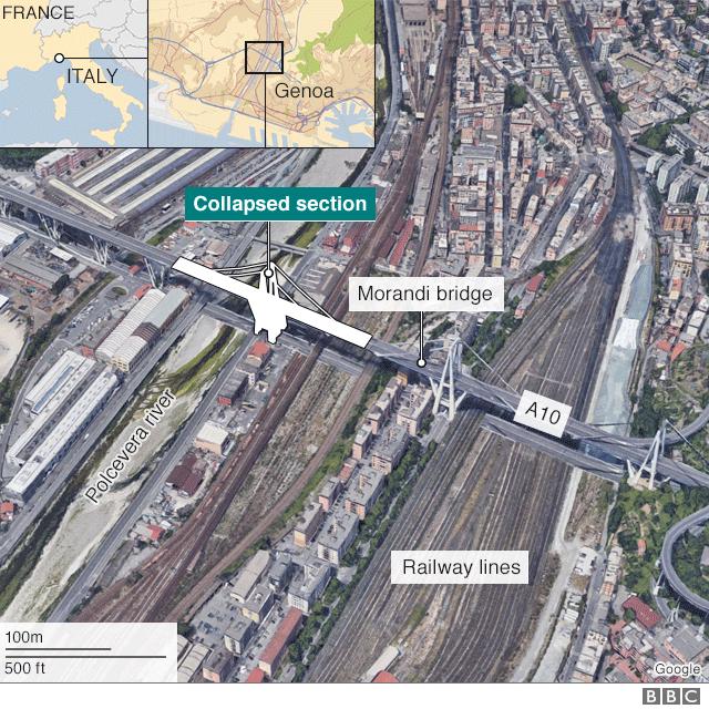 Map of bridge collapse in Genoa