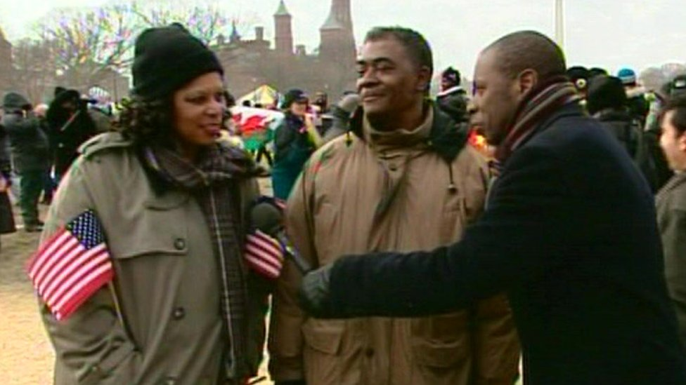 Clive Myrie interviews a couple at President Barack Obama's inauguration on 20 January 2009