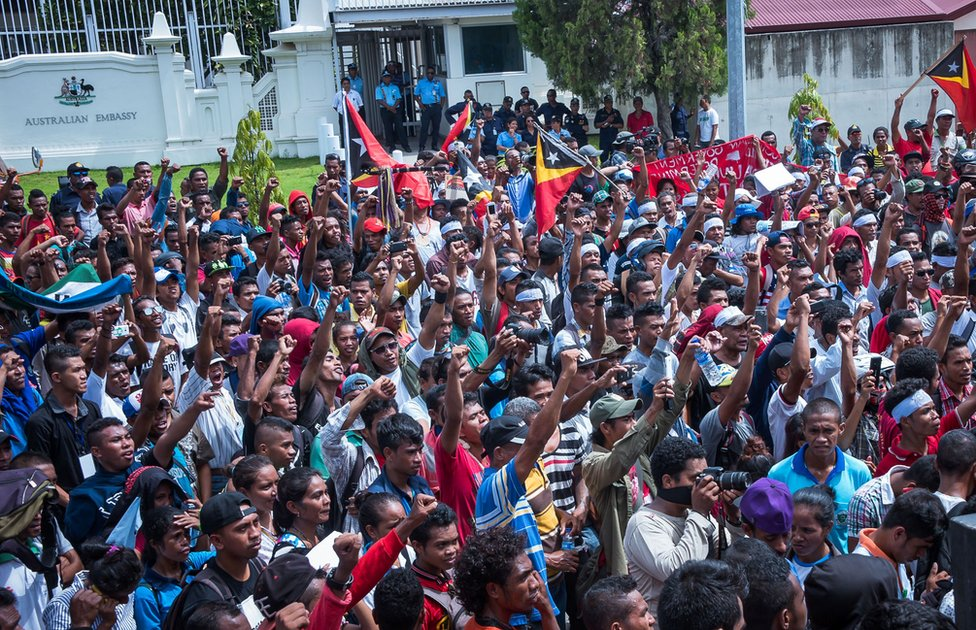 Protesters outside the Australia Embassy in Dili, East Timor, 22 March 2016