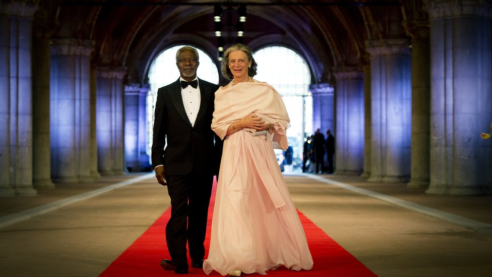 Former Secretary-General of the United Nations Kofi Annan and his wife Maria Annan arrive to attend a dinner hosted by Queen Beatrix of The Netherlands ahead of her abdication at Rijksmuseum on April 29, 2013 in Amsterdam, Netherlands