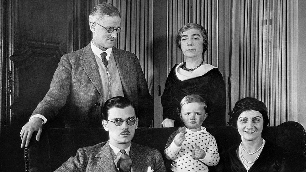 Joyce with his wife and family in Paris in 1934