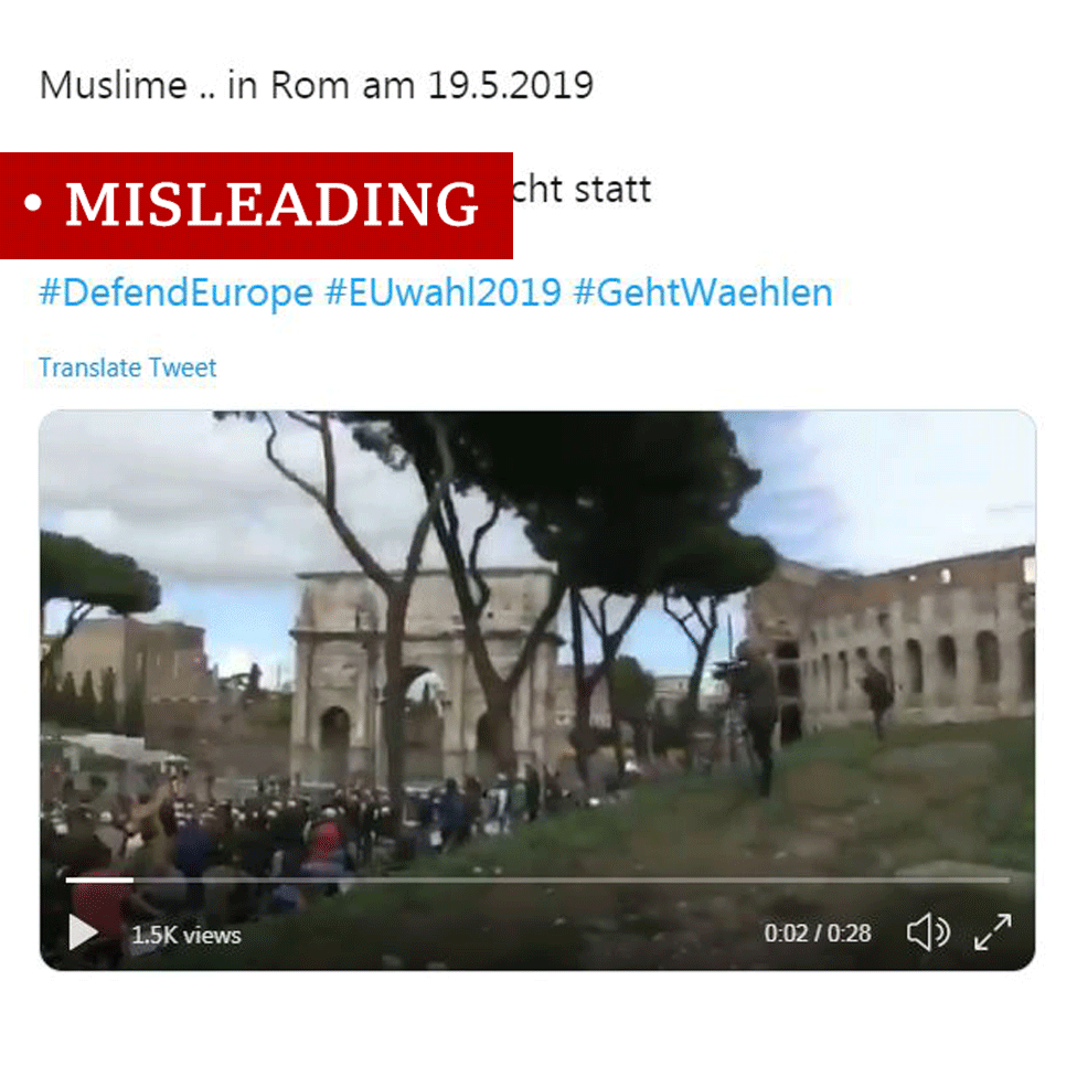 "Screenshot of video of Muslims gathered outside the colosseum in Rome, labelled ""false"""