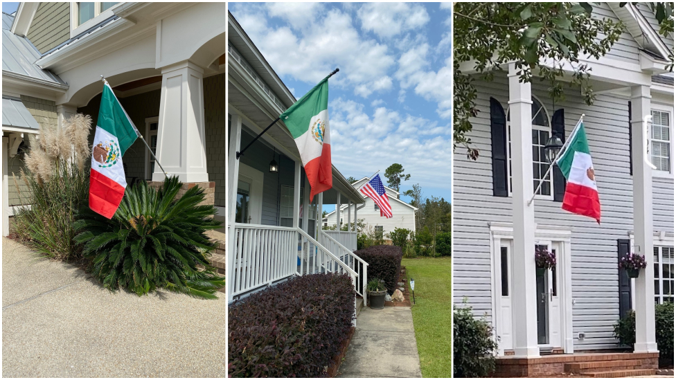 Casas de Wilmington con banderas mexicanas