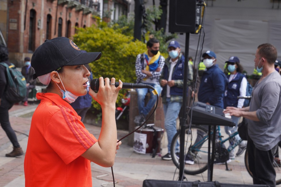 Liliana Rodriguez at a protest in Bogotá on 12 May 2021