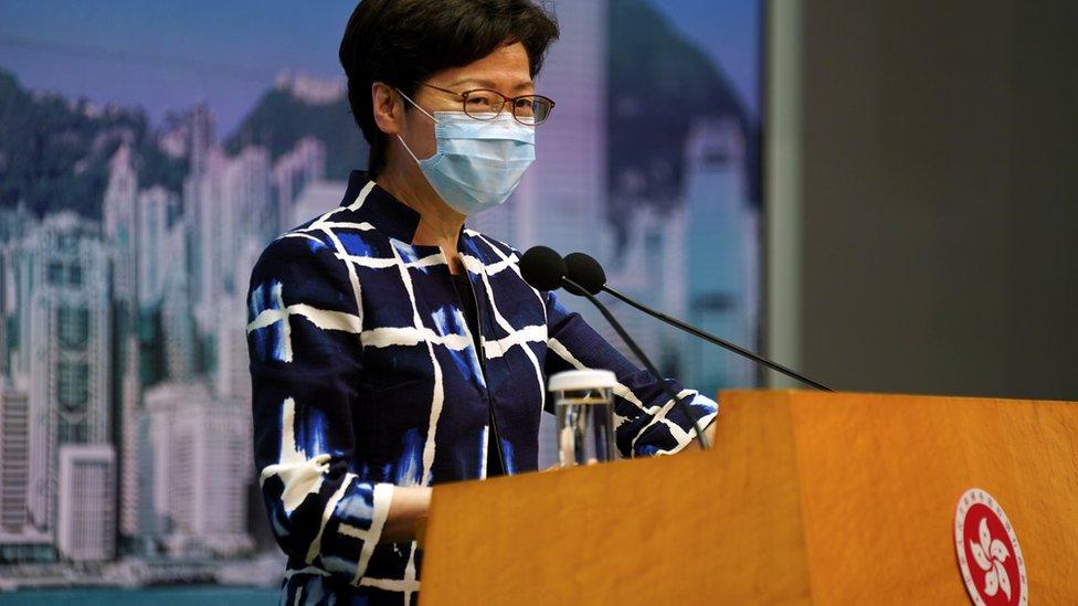 """林鄭月娥周二花費差不多10分鐘解釋香港""""沒有三權分立""""的立場。"""