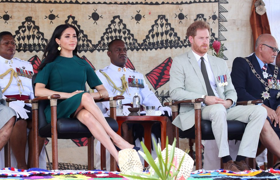 Duke and Duchess of Sussex attend a ceremony at Nadi airport in Nadi, Fiji, on 25 October 2018