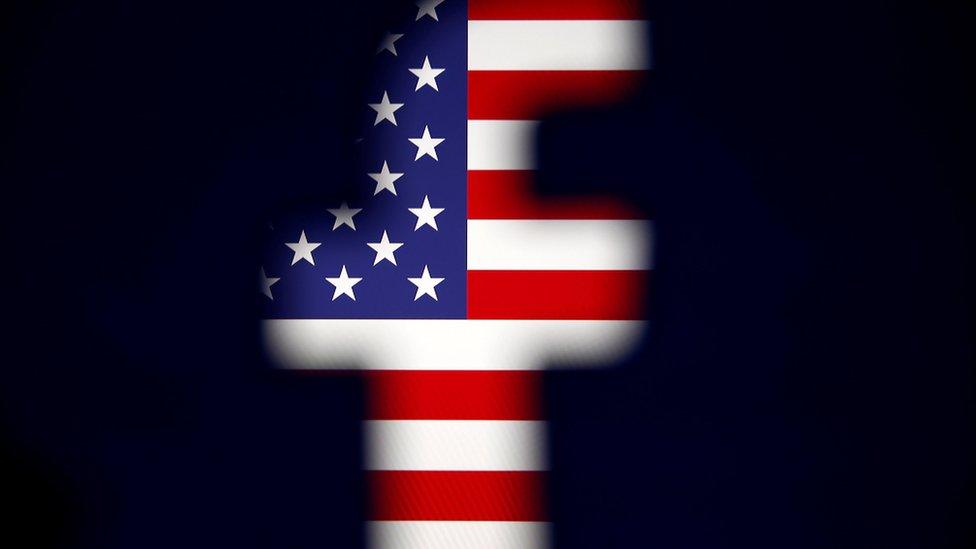 ألوان علم الولايات المتحدة داخل شعار فيسبوك
