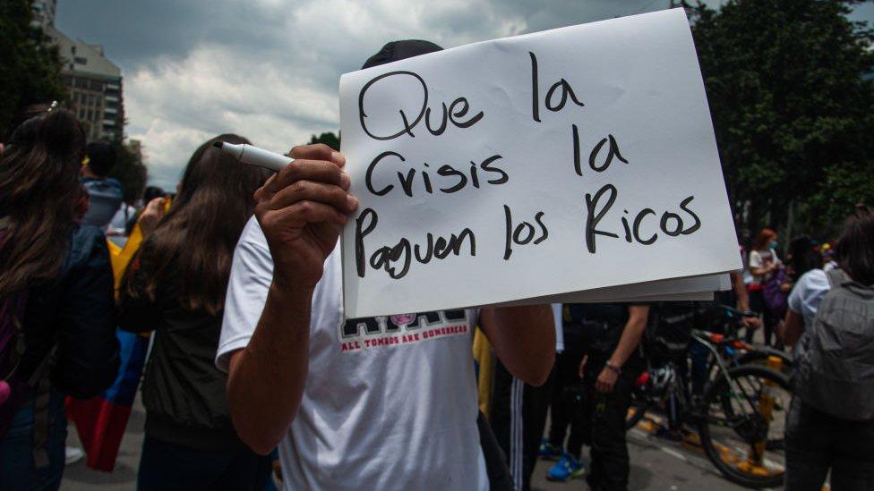 Manifestante en Bogotá.