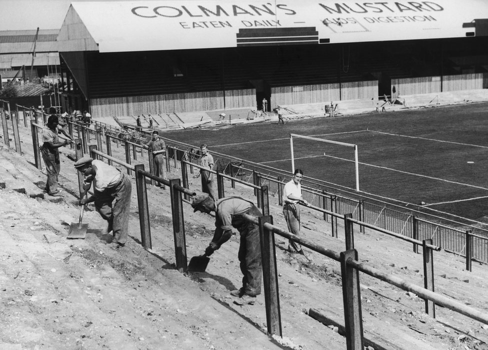 Norwich City's Carrow Road being built in 1935