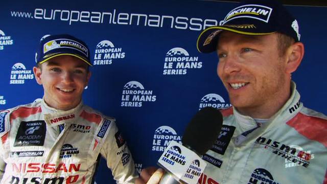Sir Chris Hoy and Ginetta-Nissan teammate Charlie Robertson (R-L)