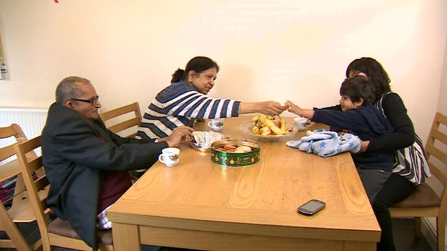 The Sharma family around the dining table
