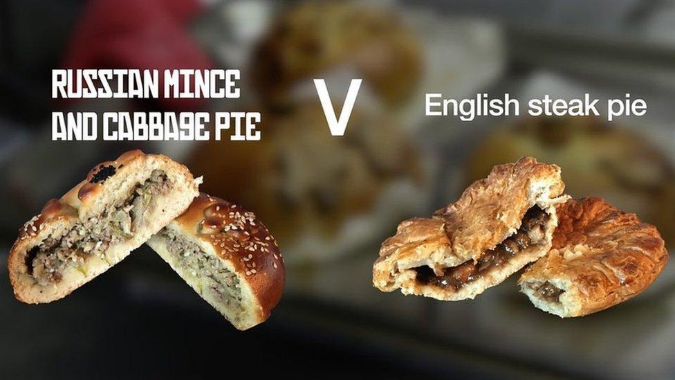 Russian pie v English pie in half-time taste test