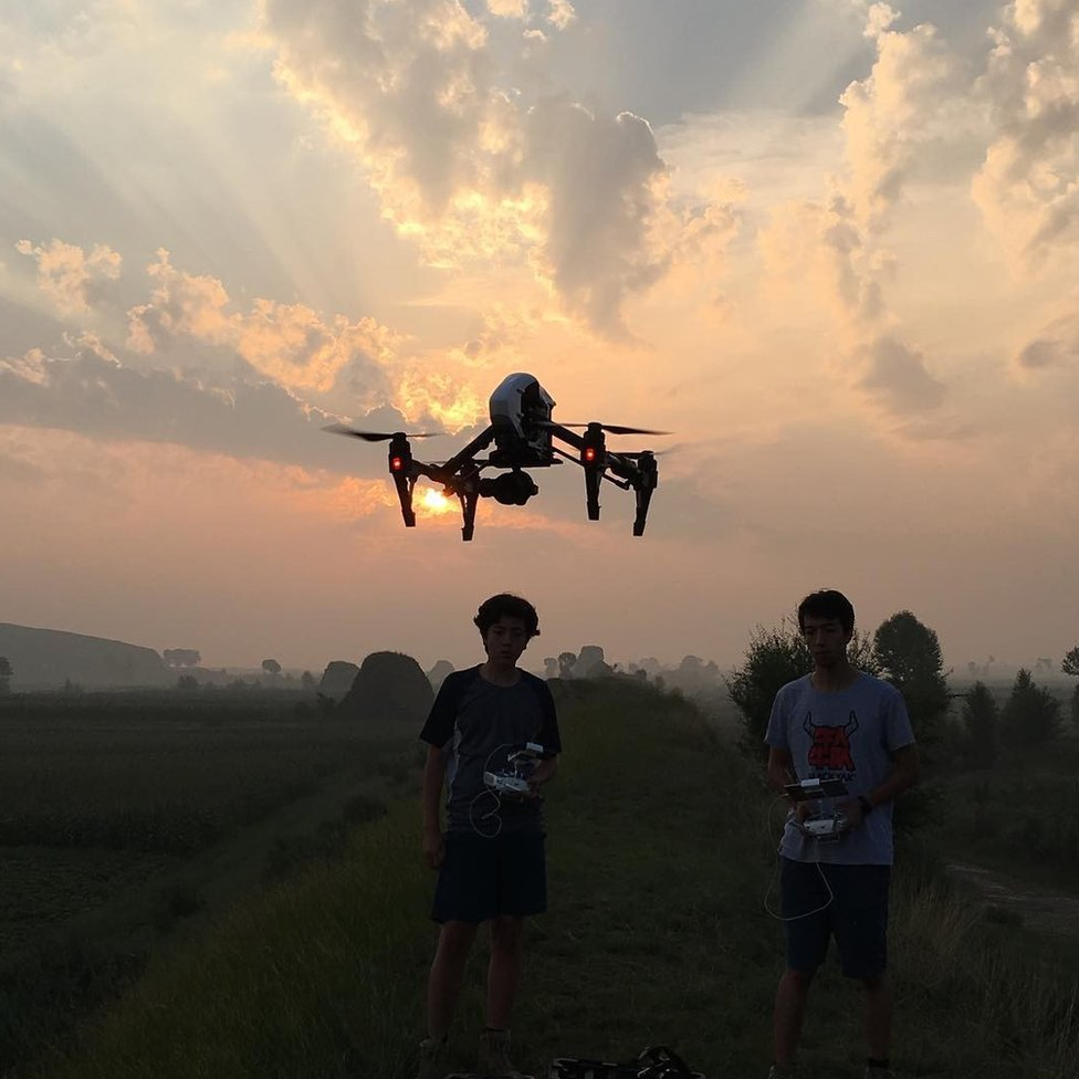 Jim and Tommy flying a drone in Inner Mongolia