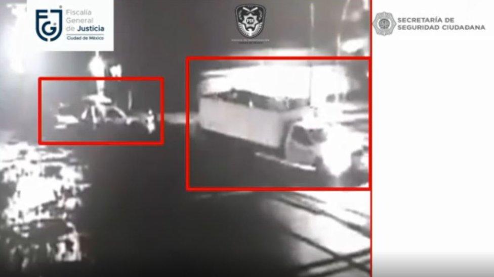 Captura de imágenes de video de seguridad sobre el atentado.