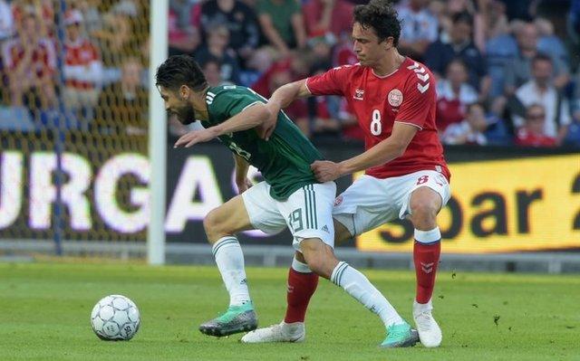 Thomas Delaney en el amistoso con México.