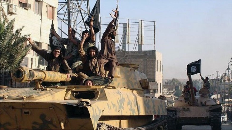 Islamic State fighters in Raqqa, northern Syria (file photo)